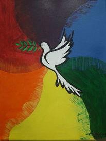 Regenbogenfarben, Frieden, Taube, Malerei