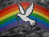 Taube, Bunt, Regenbogen, Malerei