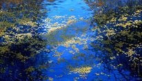 Laub, Spiegelung, Blau, Herbst