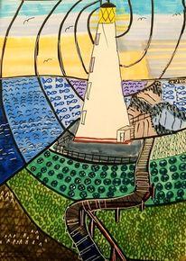Graffiti, Leuchtturm, Mosaikform landschaft, Malerei