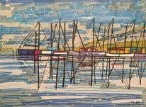 Reflektionen, Hafen, Segelboot, Nebel