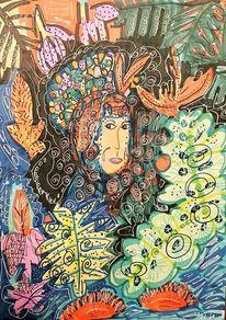 Blumen, Bunt, Urwald, Frau