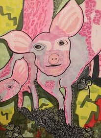 Individuell, Schwein, Schau, Pink