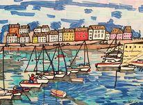 Douarnenez, Häuser, Frankreich, Boot