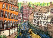 Altstadt, Monschau, Berge, Rur