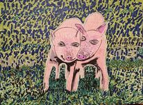 Schwein, Fröhlichkeit, Ferkel, Gras