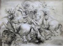 Anghiarischlacht, Malerei marcel heinze, Barock, Studie