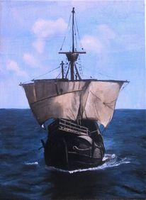Marinemalerei, Schiff, Malerei marcel heinze, Santa maria