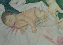 Tochter, Licht, Bauchnabel, Geburt