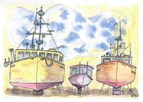 Aquarellmalerei, Himmel, Boot, Ozean