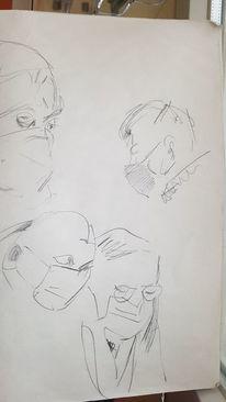 Menschen, Maske, Corona, Kopf