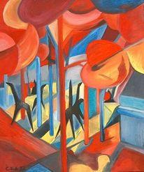 Acrylmalerei, Miros garten, Malerei, Abstrakt