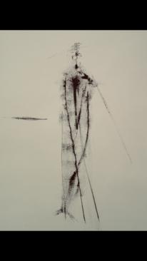 Mann, Schwarz, Stock, Malerei