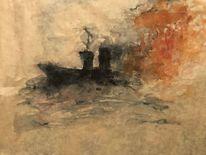 Dampfschiff, Sturm, Feuer, Malerei