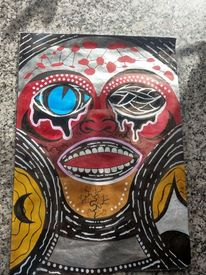 Menschen, Maske, Afrika, Mischtechnik