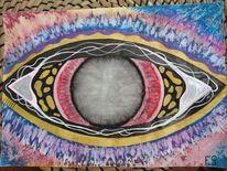 Augen, Farben, Fantasie, Mischtechnik
