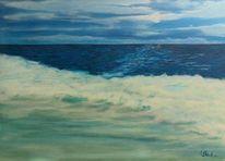 Meer, Mond, Keine sterne, Malerei