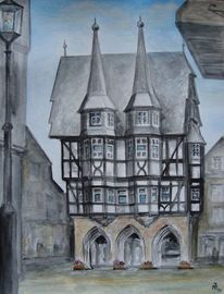 Hessen, Rathaus, Alsfeld, Aquarell