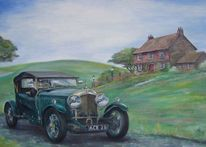 Auto, Engl, Bentley 1927, Landschaft
