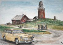 Dänemark, Leuchtturm, Aquarell,