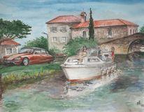 Landschaft, Frankreich, Boot, Citroen ds