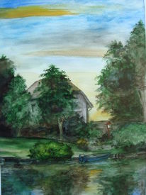 Landschaft in mecklenburg, Priepert, Aquarellmalerei, Aquarell