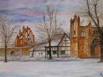 Neubrandenburg, Stadttor, Winter, Aquarell