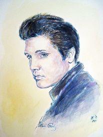 Portrait, Elvis, Aquarellmalerei, Aquarell