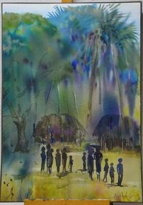 Landschaftsmalerei, Aquarellmalerei, Afrika, Landschaft
