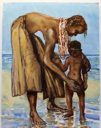 Afrika, Kenia, Aquarellmalerei, Mutter