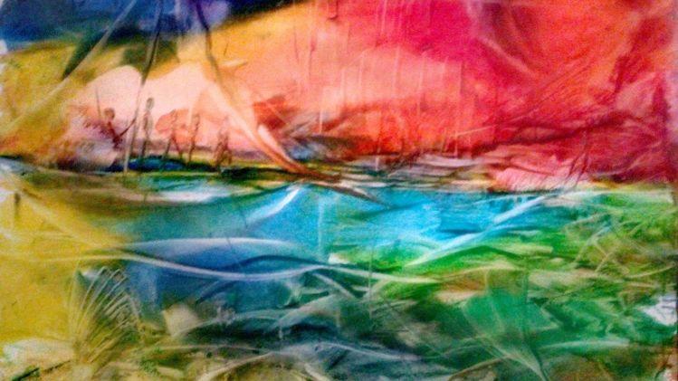 Fantasie, See, Boot, Farben, Landschaft, Bewegung
