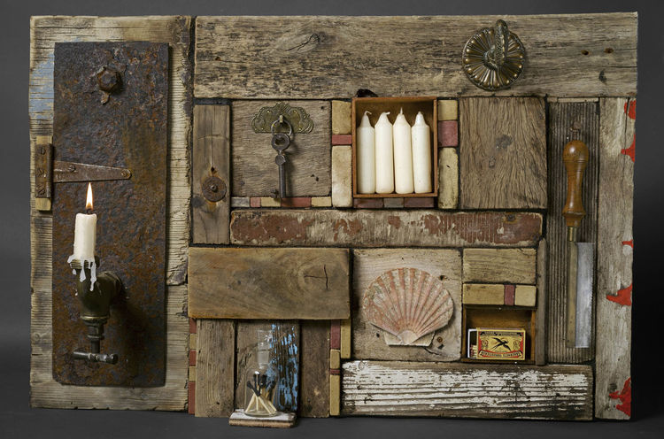 Collage, Treibholz, Assemblage, Plastik, Rising