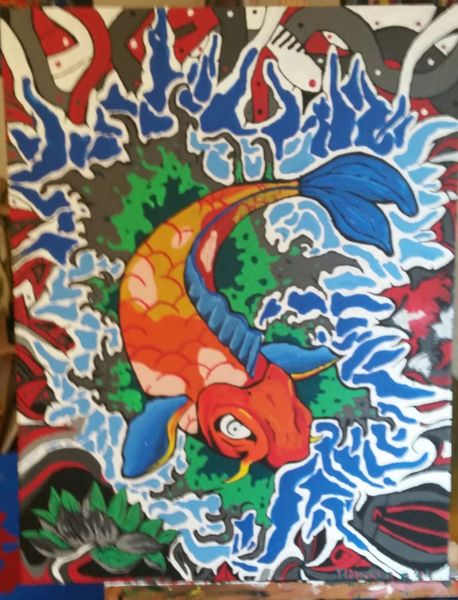Fantasie, Acrylmalerei, Koi, Fisch, Comic, Malerei