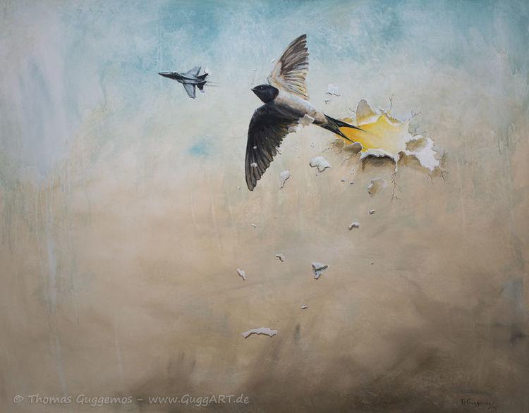 Durchbruch, Schwalbe, Vogel, Flugzeug, Acrylmalerei, Kampfjet