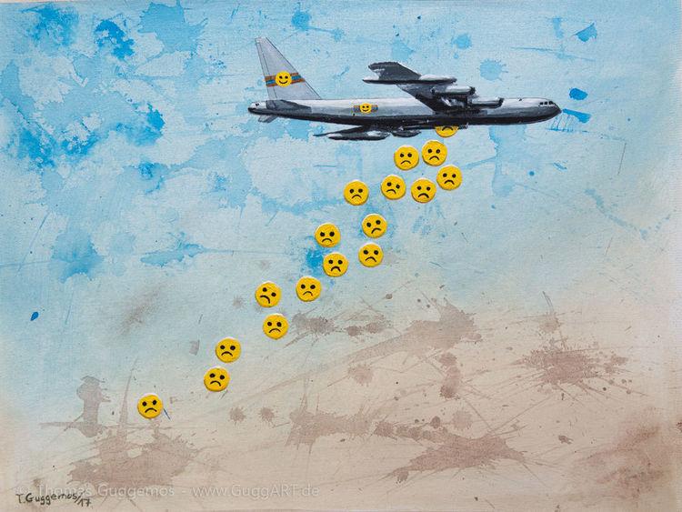 Bombe, Smiley, Gemälde, Freude, 2017, Bomber