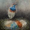 Vogel, Mars, Gemälde, Planet