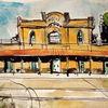 Aquarell, Bahnhof