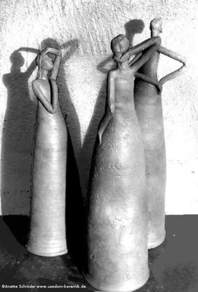 Skulptur, Frauenfigur, Abstrakt, Keramikfigur, Frau, Garten