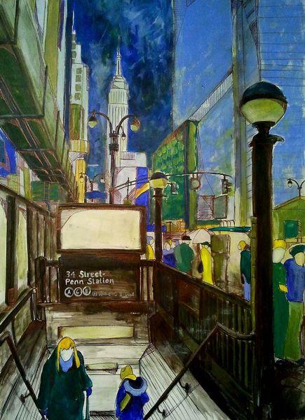 Stadt, New york, Show, Ubahn, Betongrau, Grün