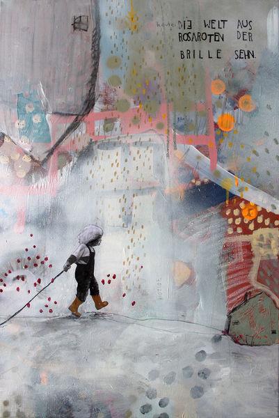 Streetart, Grafitii, Collage, Kindheit, Acryl mischtechnik, Linolschnitt