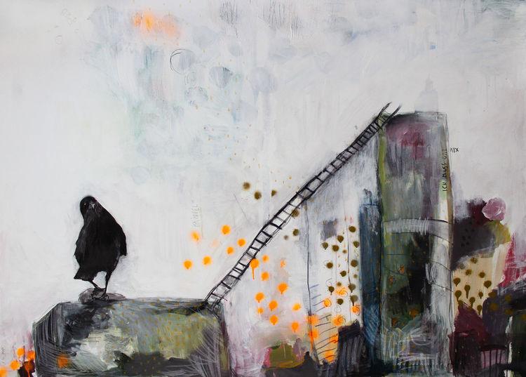 Zwingen, Graffiti, Illustration, Rabe, Gesellschaftszwang, Architektur