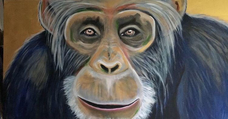 Schimpanse, Tiere, Malerei, Handarbeit, Acrylmalerei, Neugier