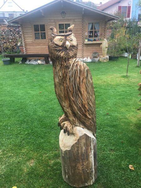 Uhu, Vogel, Holz, Kettensägen schnitzerei, Kunsthandwerk