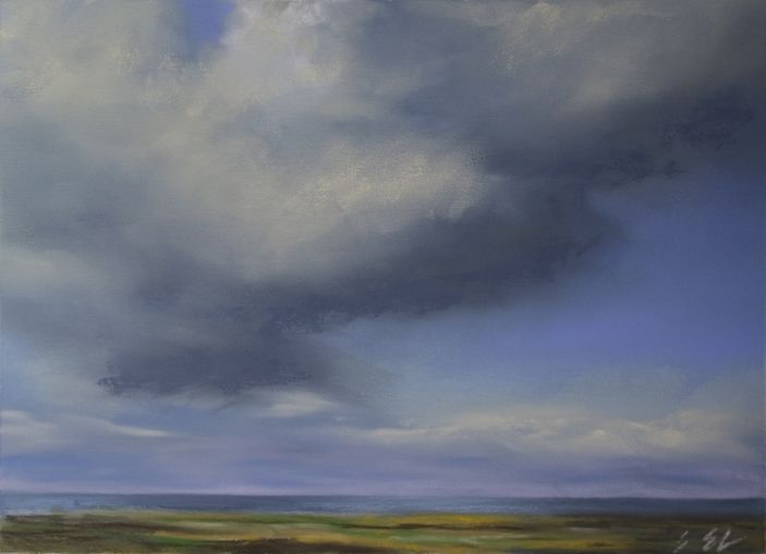 Nordsee, Wolken, Küste, Himmel, Wattenmeer, Malerei