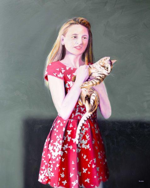 Portrait, Katze, Tiere, Ölmalerei, Frau, Rot