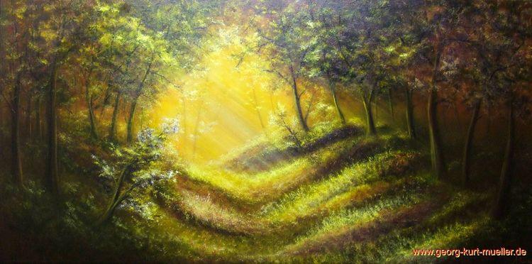 Licht, Lichtung, Ölmalerei, Malerei,