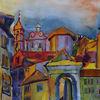 Bergamo, Italien, Stadt, Aquarell