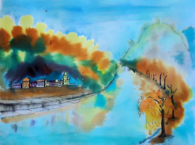 Herbst, Oberwinter, Königswinter, Unkel, Aquarellmalerei, Rhein