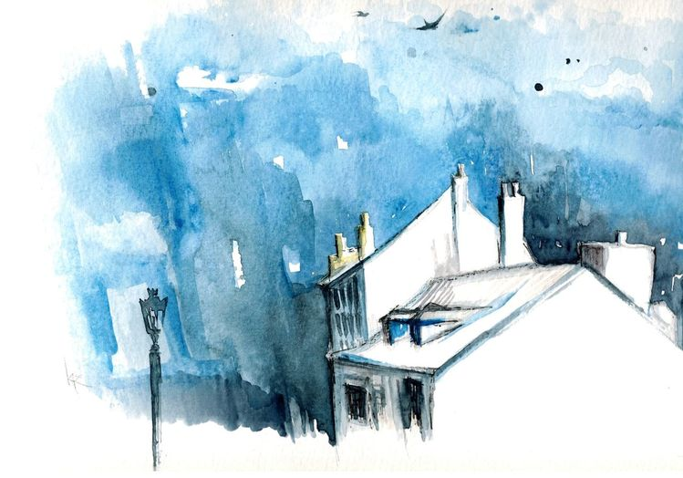Architektur, Paris, Himmel, Aquarell