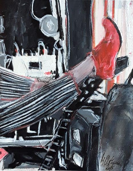 Gitarre, Musik, Frau, Bein, Malerei, Pause